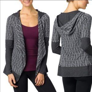 PrAna Gray graceful wrap hooded cardigan sweater